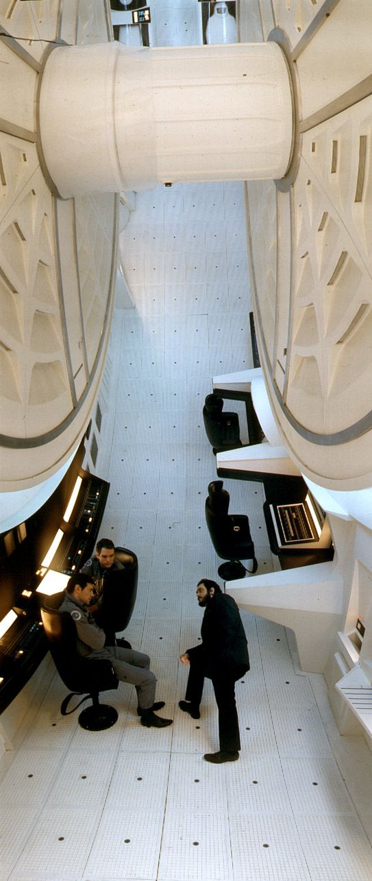 On the spaceship set of 2001: A Space Odyssey.