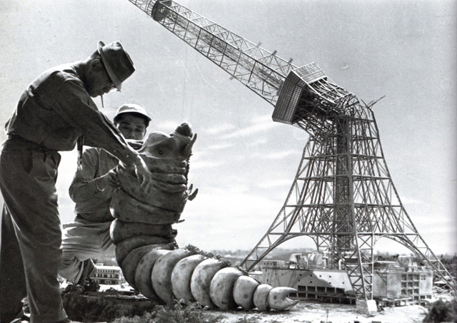 On the set of Mothra (1961) - special effects director Tsuburaya Eiji.