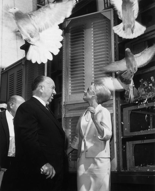 The Birds (1961) — Tippi Hedren with Hitchcock.